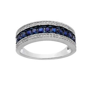 10K Sapphire Diamond Channel Ring